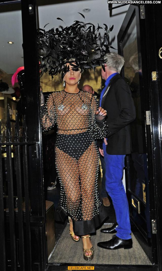 Lady Gaga No Source Posing Hot Celebrity Babe Pasties London Fishnet